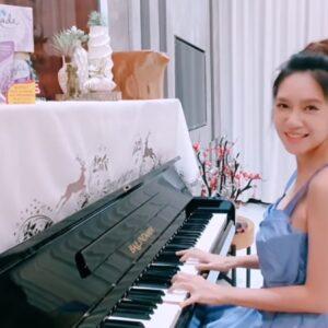 khăn phủ đàn piano con hươu