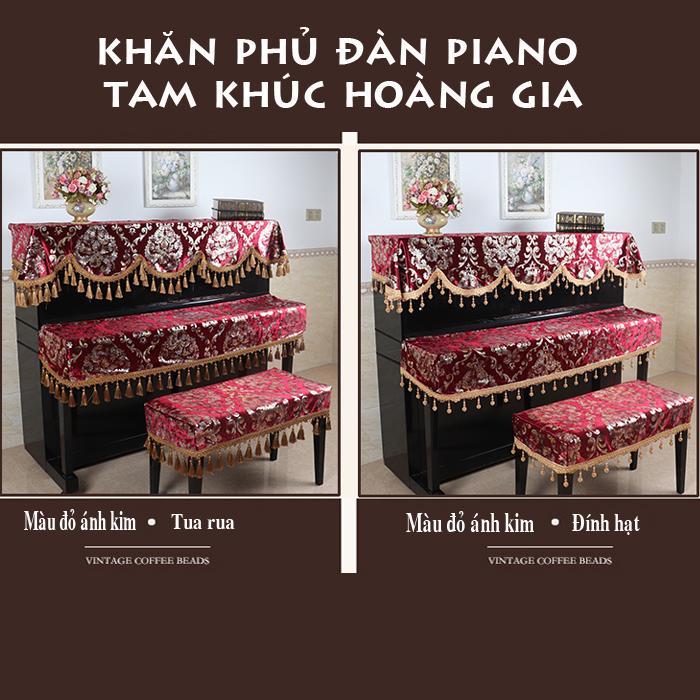 khăn phủ đàn piano tam khúc mẫu đỏ hoàng gia