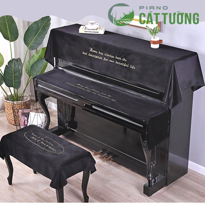 khăn phủ đàn piano vải nhung lụa R10bl